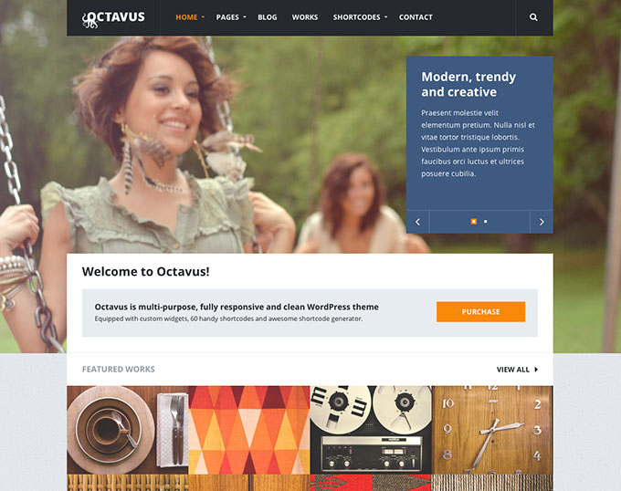 Octavus flat WordPress theme