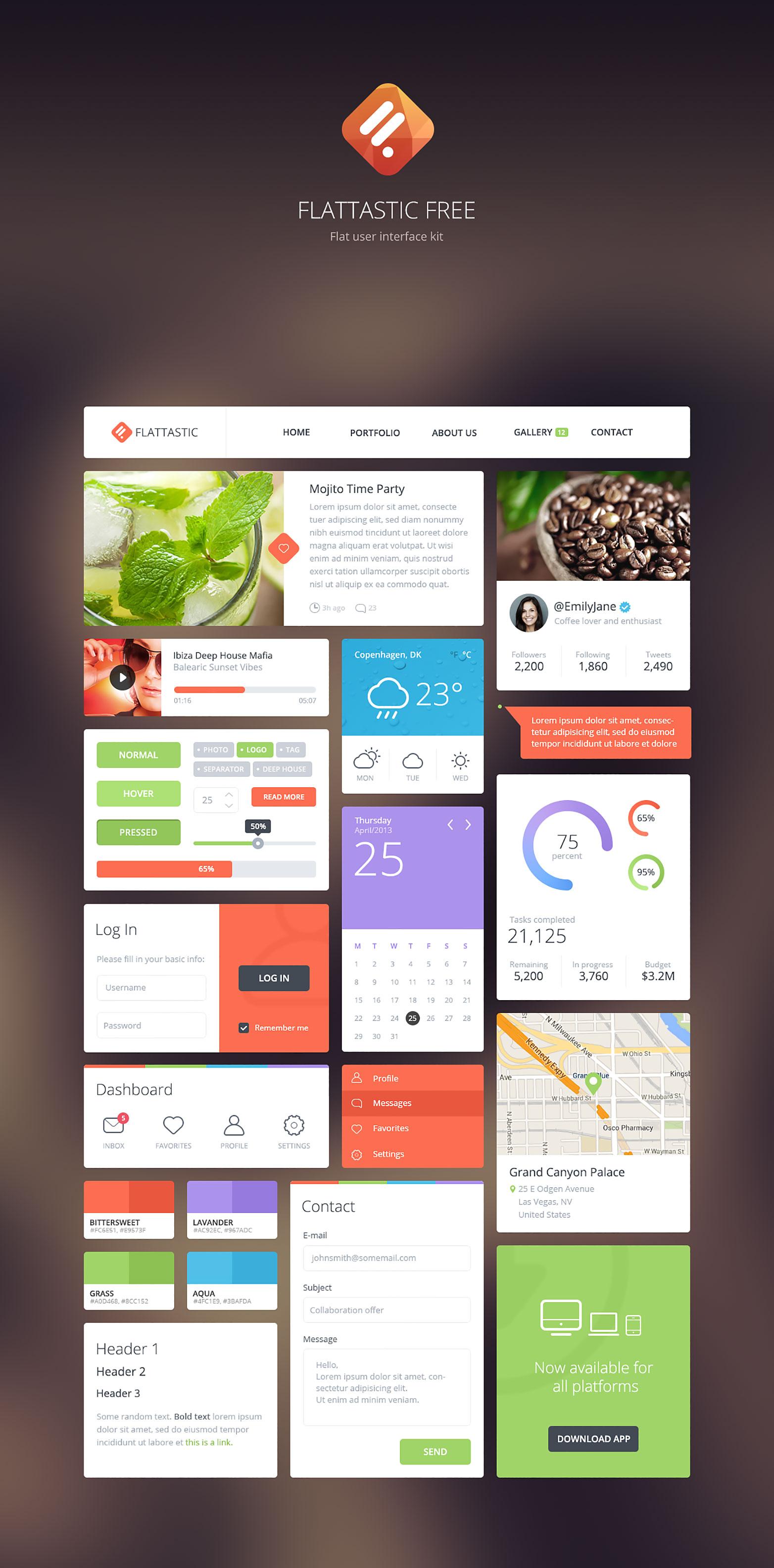 Flattastic Flat User Interface Kit PSD