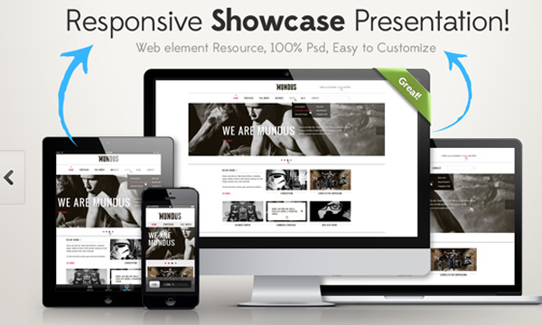 responsive showcase psd website freebie design