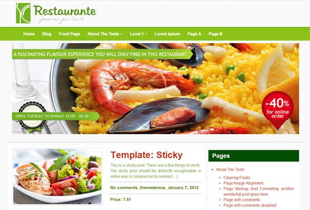 Restaurante WordPress Themes
