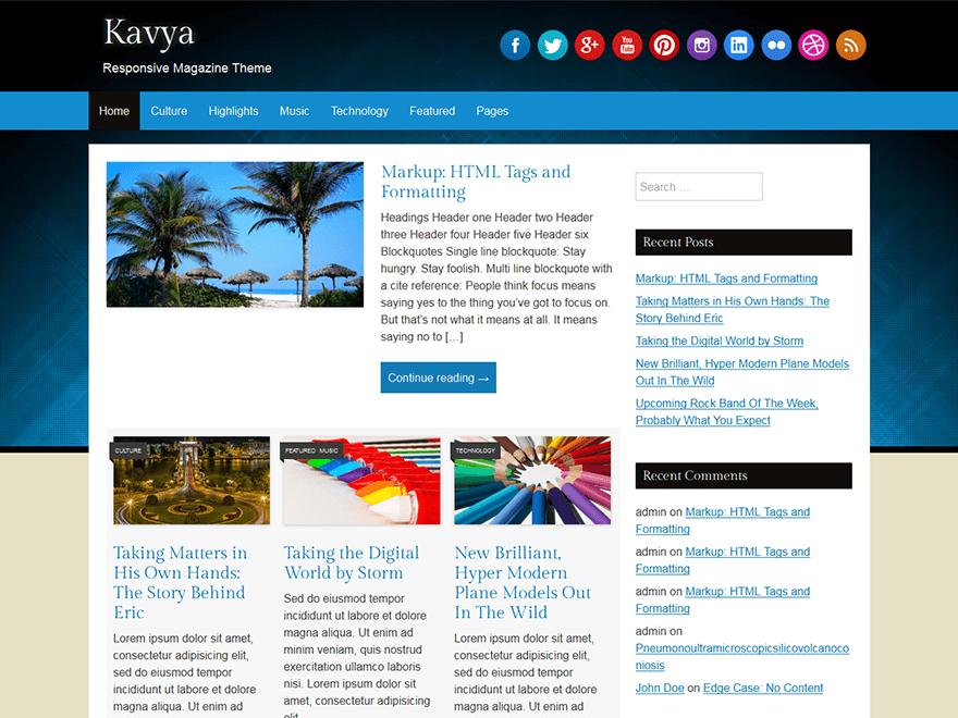 Kavya Magazine Theme for WordPress