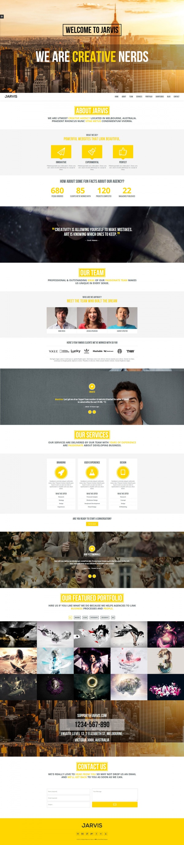 Jarvis Best Creative WordPress Themes June