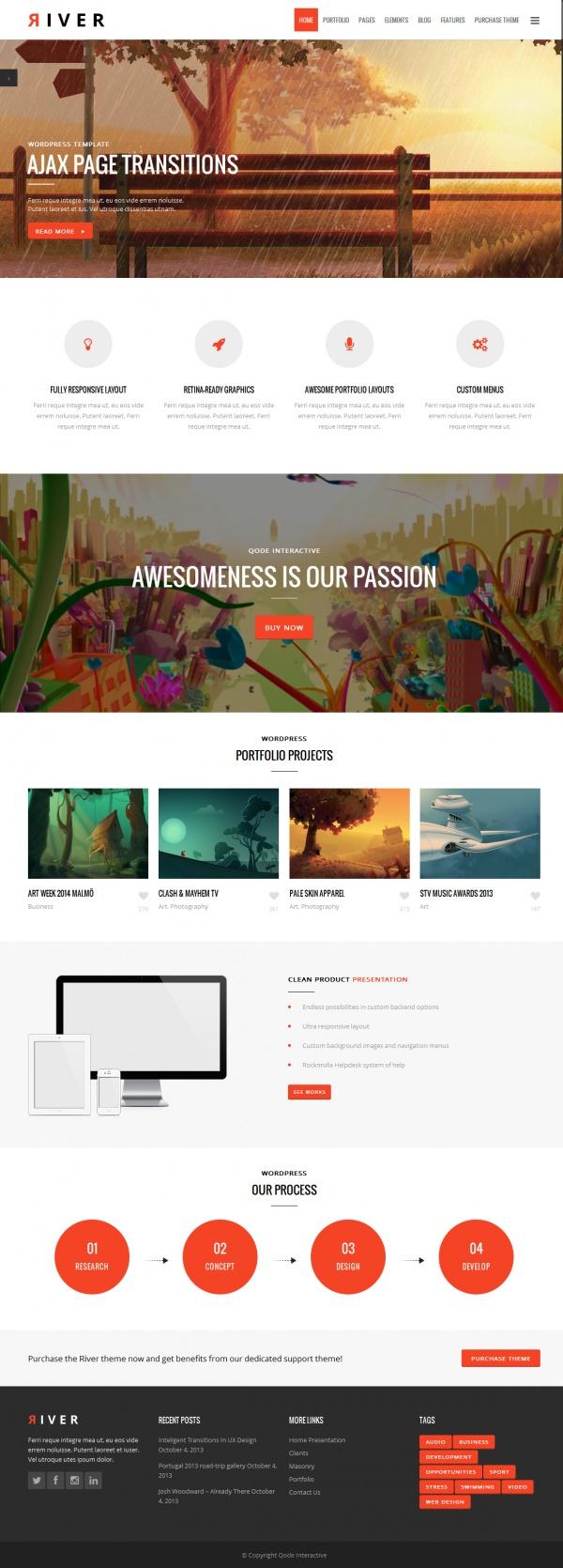 River Best Creative WordPress Themes June