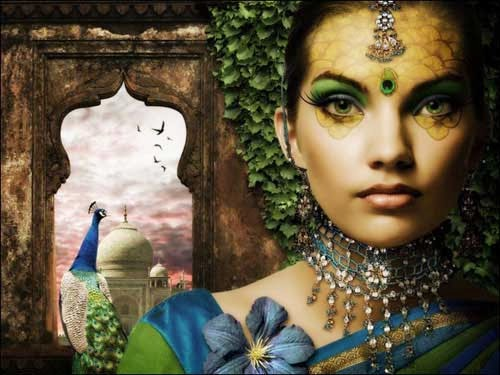 Create a Fantasy Peacock Princess Composition