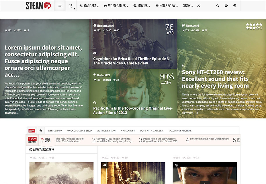Steam - WordPress Review Themes