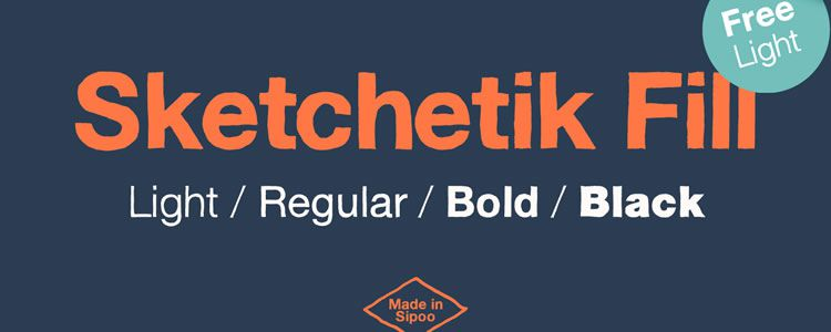 Sketchetik Fill Lightfont designed by Ossi Gustafsson free font