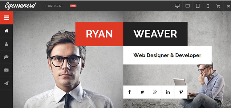 Divergent – Personal Vcard Resume HTML Template (Personal HTML Templates)