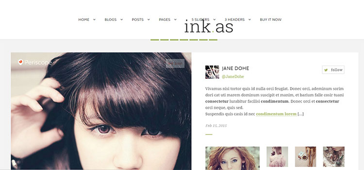Inkas – The Personal Blog HTML Template