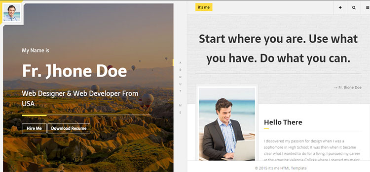 It's Me – Personal Resume and Portfolio (Personal HTML Templates)