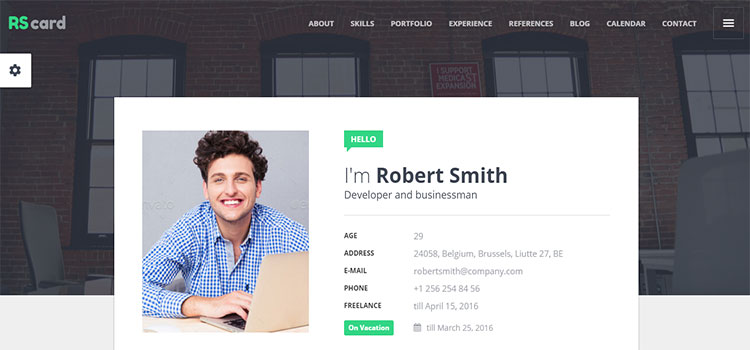 Material Resume / CV & vCard (Personal HTML Templates)