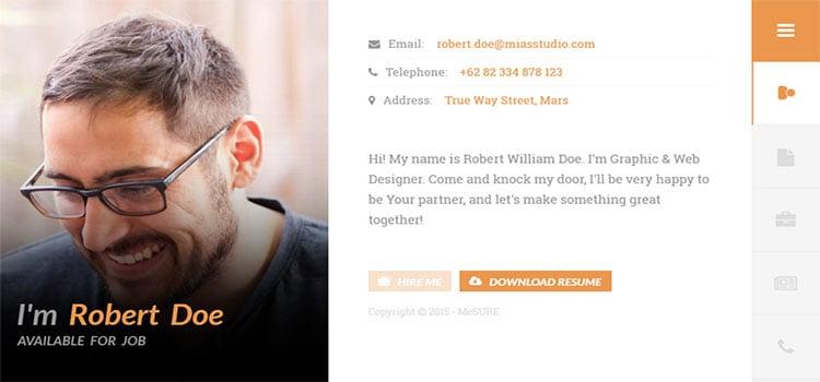 Me SURE – Ultimate Personal VCard, Resume, &Portofolio (Personal HTML Templates)