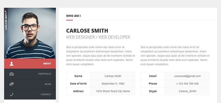 Split : Personal CV/Vcard Template (Personal HTML Templates)