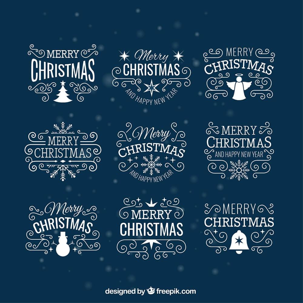 White Christmas Badges