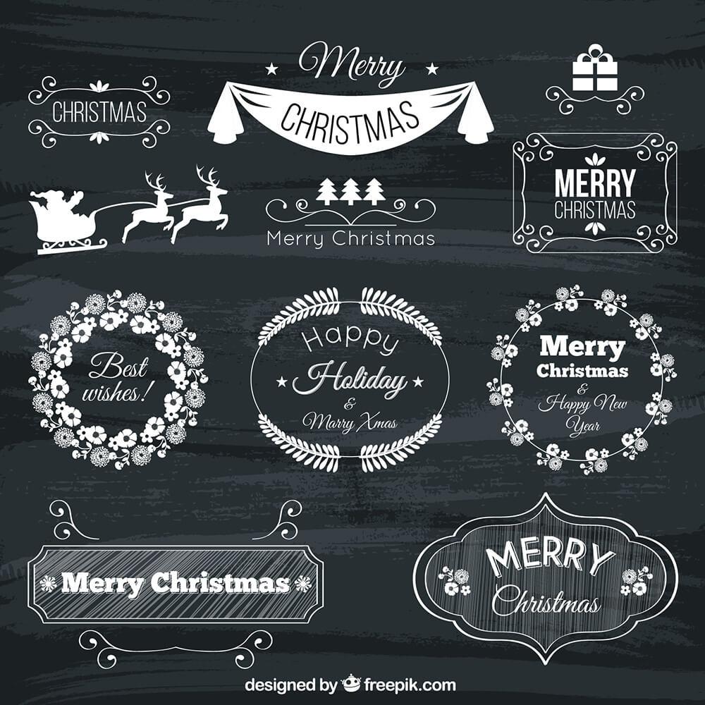 Hand Drawn Christmas Badges