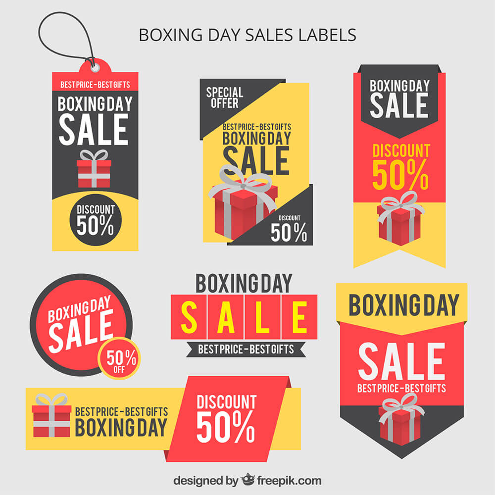 Boxing Day Sales Labels