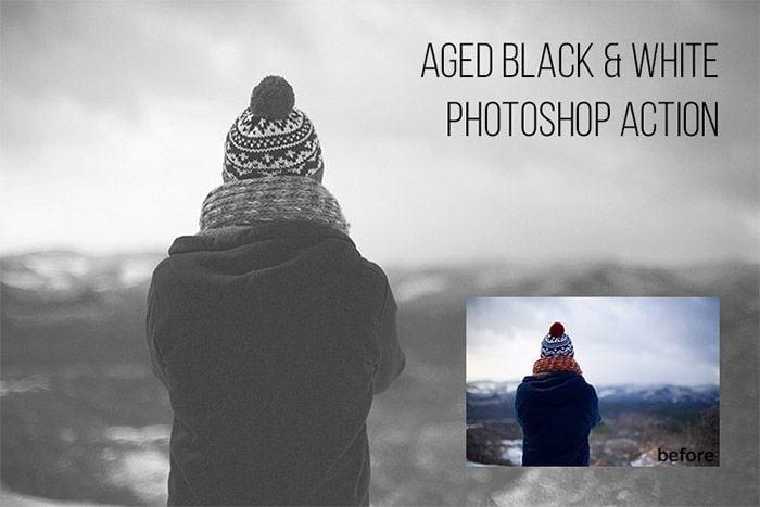 Aged Black & White Photoshop Action