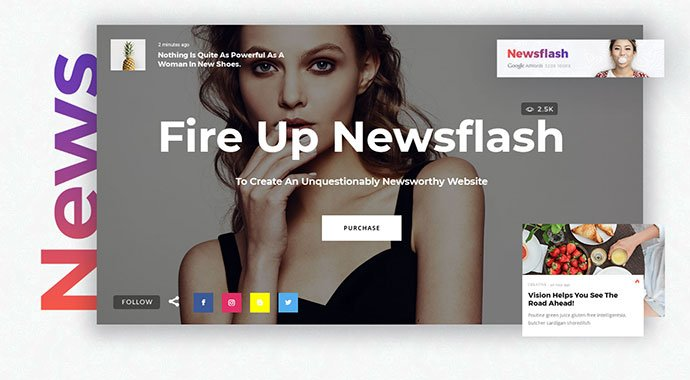 Newsflash - WordPress themes with big fonts