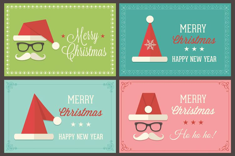 Retro Santa Cap Vector Greeting Card Templates free holidays