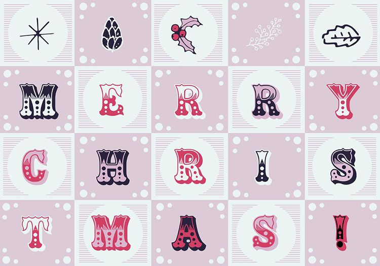 Christmas Vector Letters Background free holidays