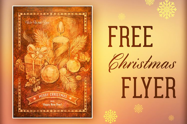 Free Handmade Retro Christmas Flyer holidays