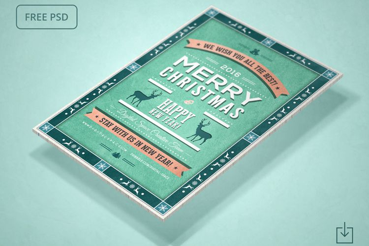 Free Retro Christmas and New Year Flyer holidays