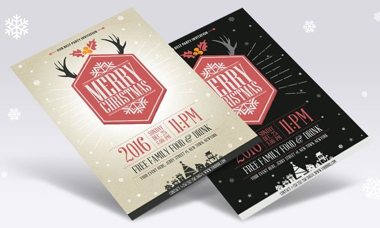 Vector Vintage Party Christmas Flyer Template free holidays
