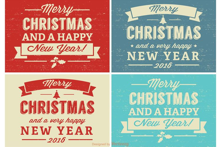 Retro Distressed Christmas Label Set free holidays