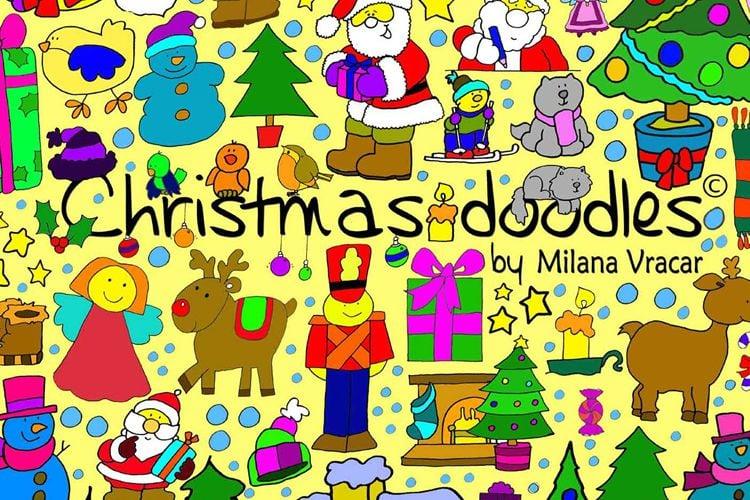 126 Christmas Doodles Brush Pack free holidays