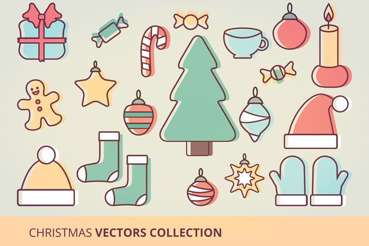 Christmas Icons Vector Set free holidays