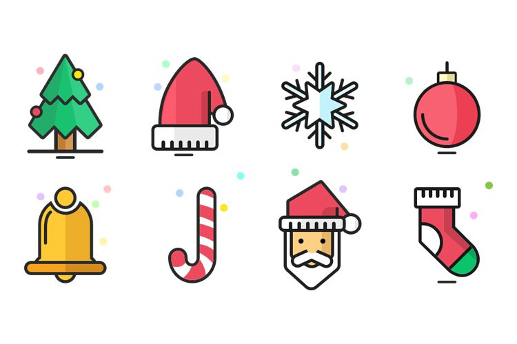 8 Christmas Icons  free holidays