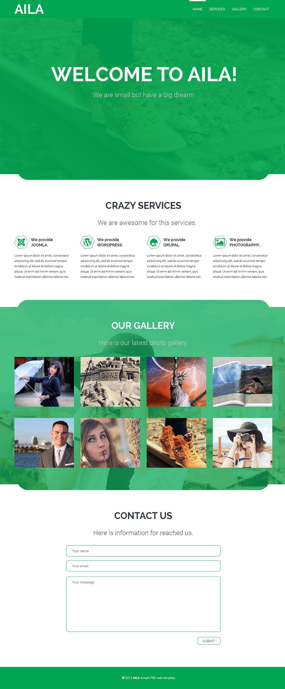AILA - Free One Page Web Template PSD