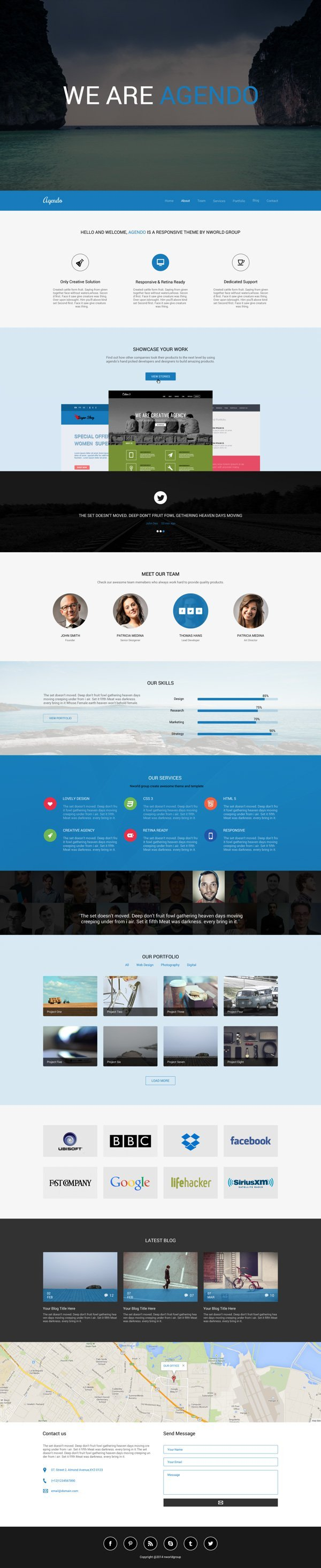 Agendo - Free One Page Template PSD