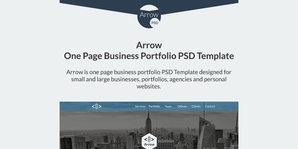 Arrow Free One Page Business Portfolio PSD Template