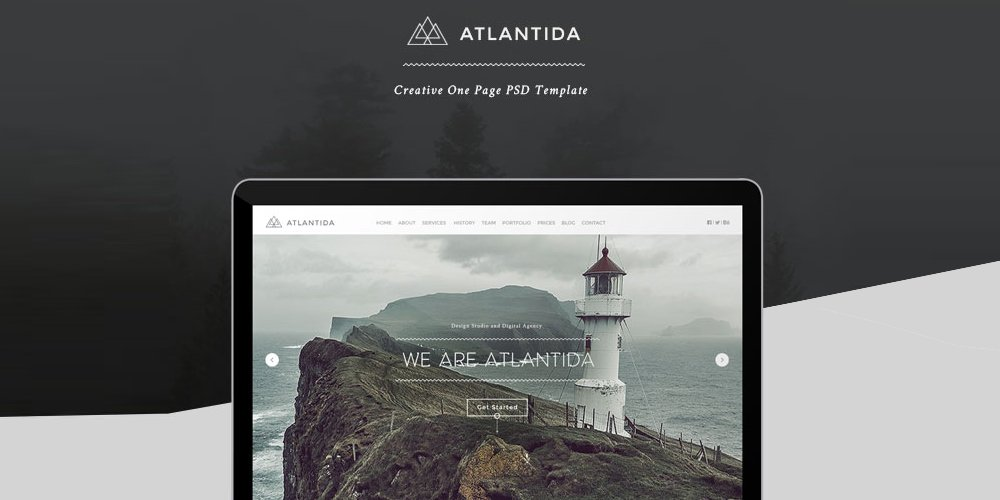 Atlantida Free Creative One Page Web Template PSD