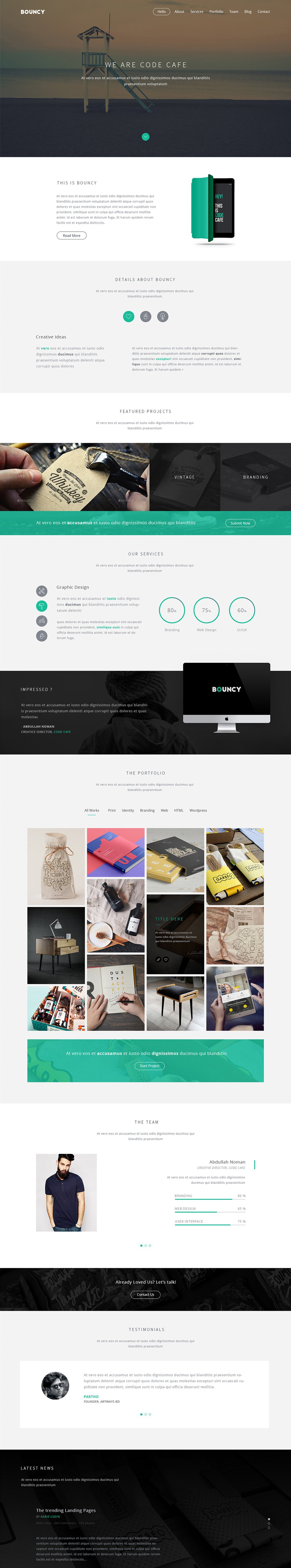 Bouncy - Free One Page Digital Agency Template PSD