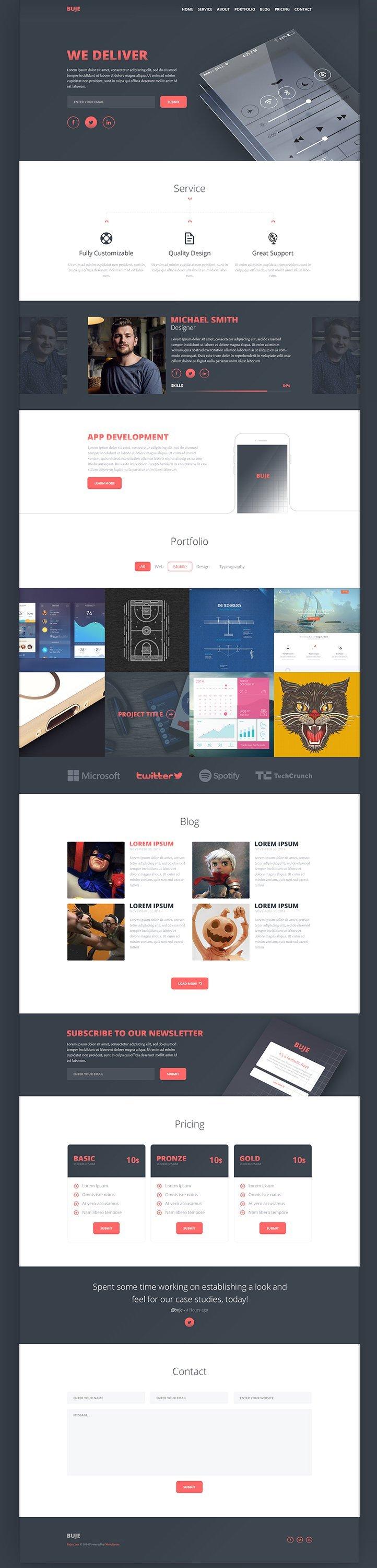 Buje – One Page Template PSD