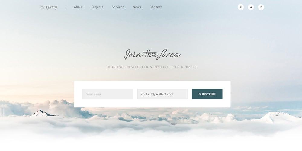 Elegancy Free Single Page Web Template PSD