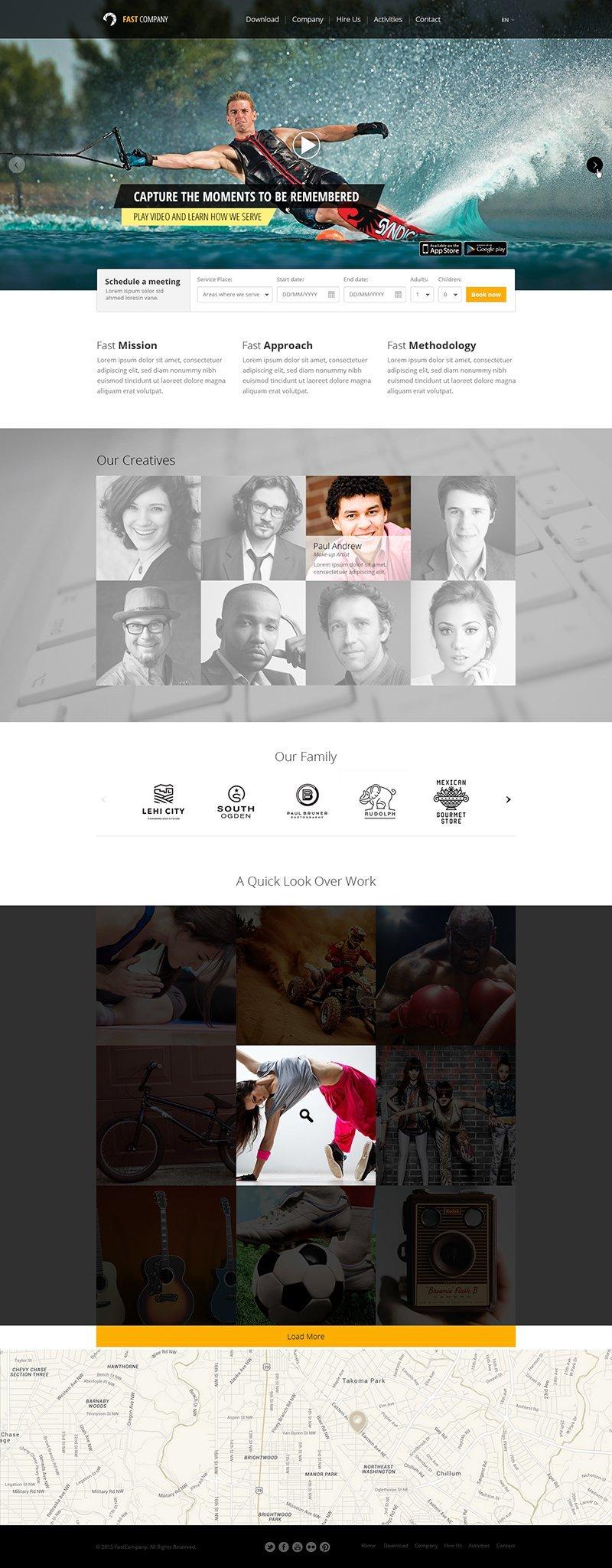 Fast Company Free Single Page Web Template PSD