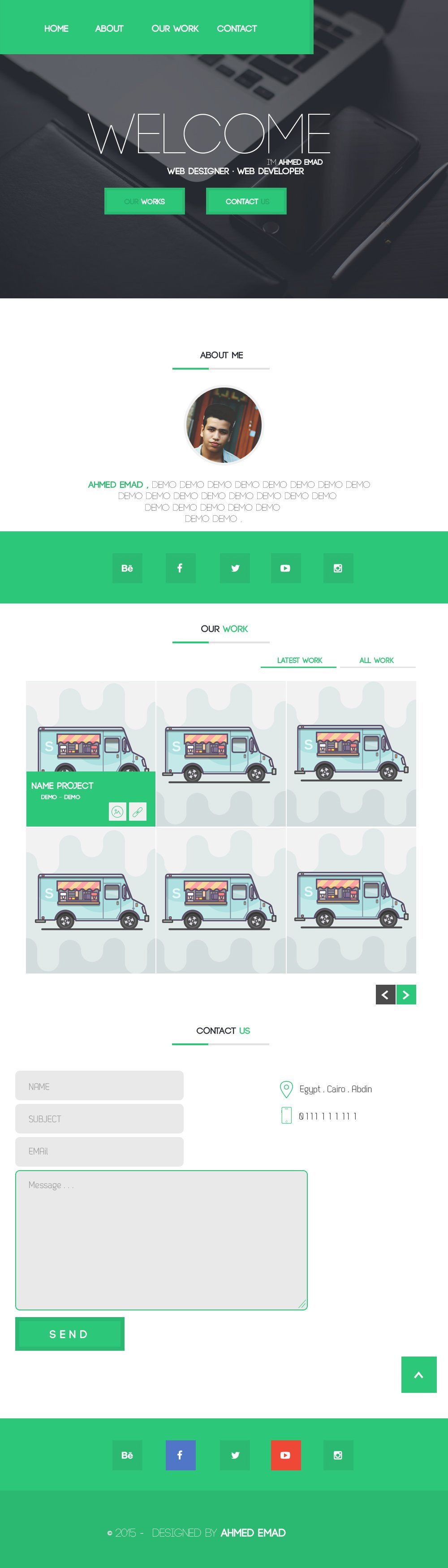 Free Flat One Page Page Template PSD