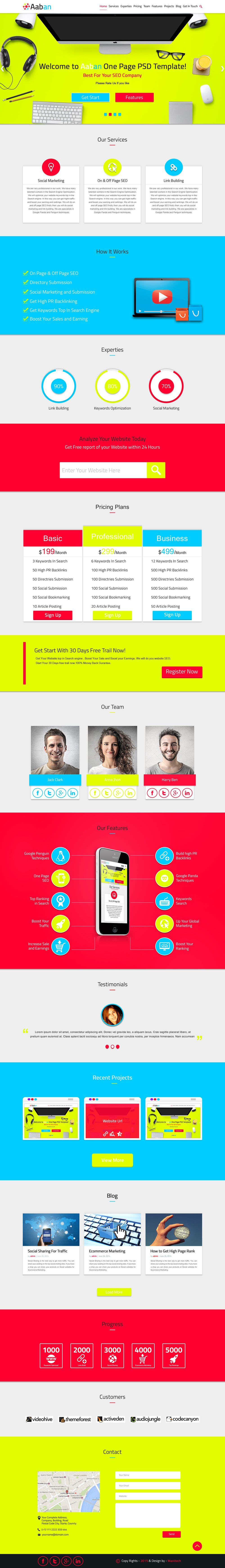 Free One Page Web Template PSD for SEO