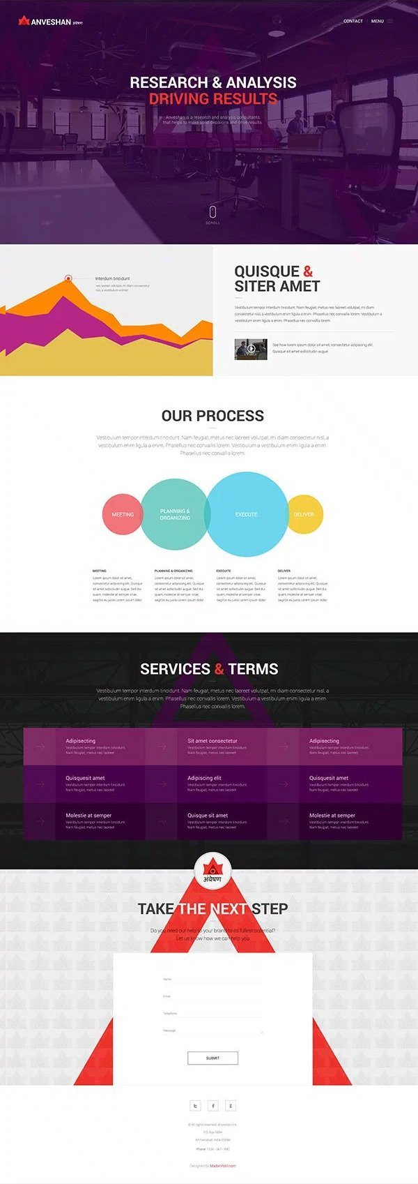 Free One Page Website PSD