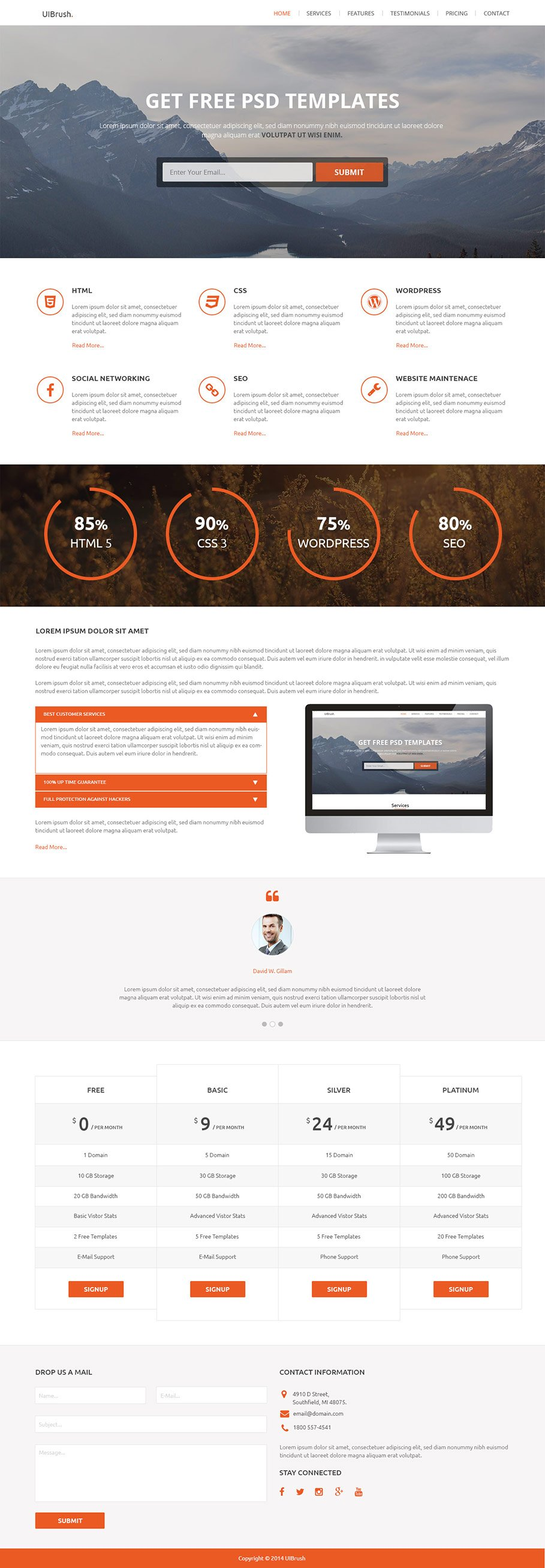 Free UIBrush One Page Template PSD