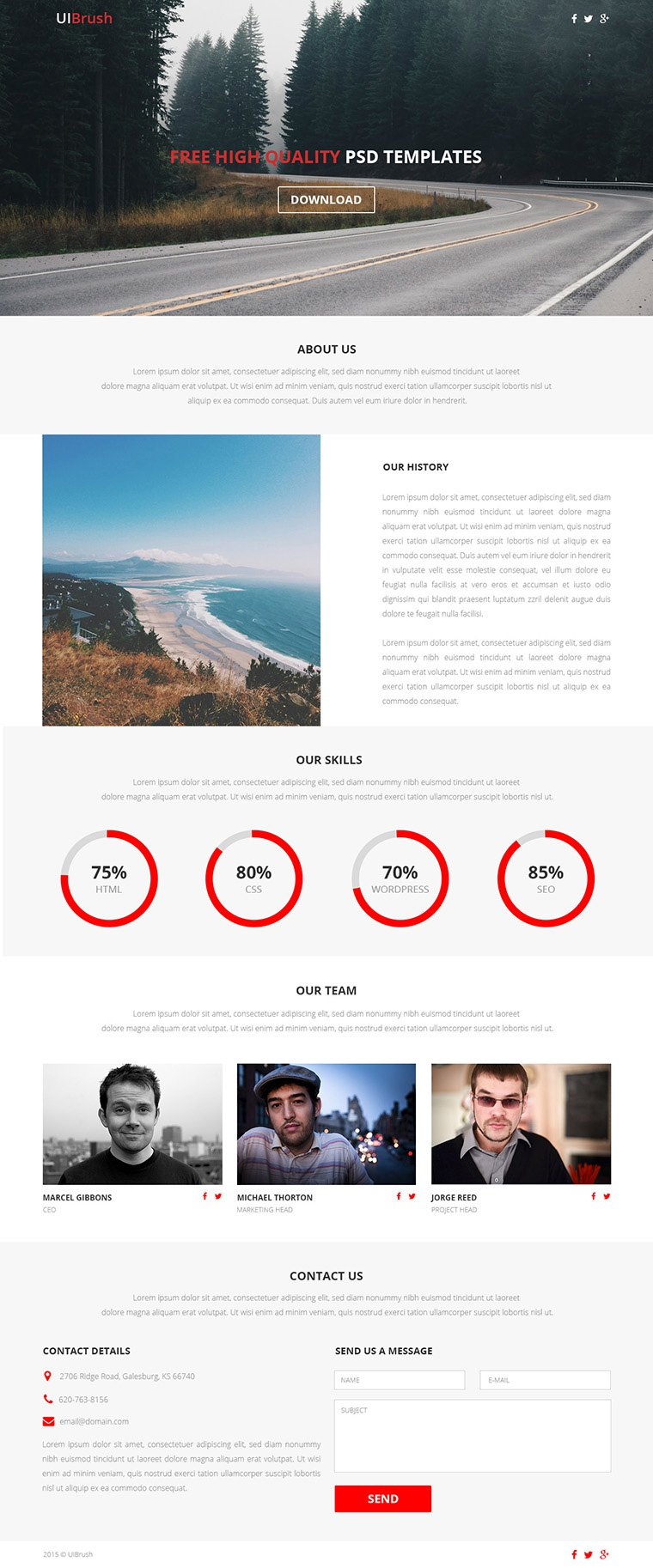 Lander Free One Page Responsive Web Template