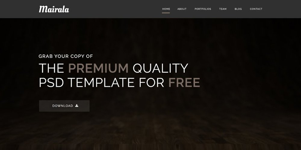 Mairala Free One Page Corporate Agency Template PSD