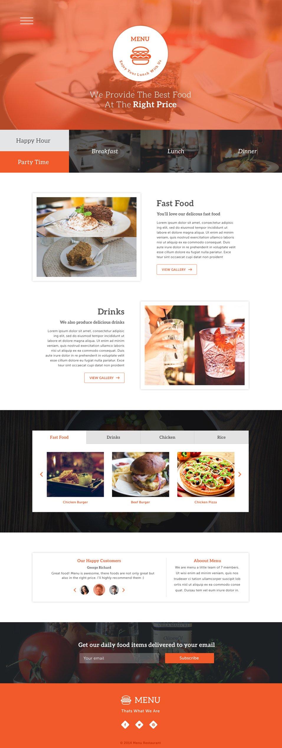 Menu One Page PSD
