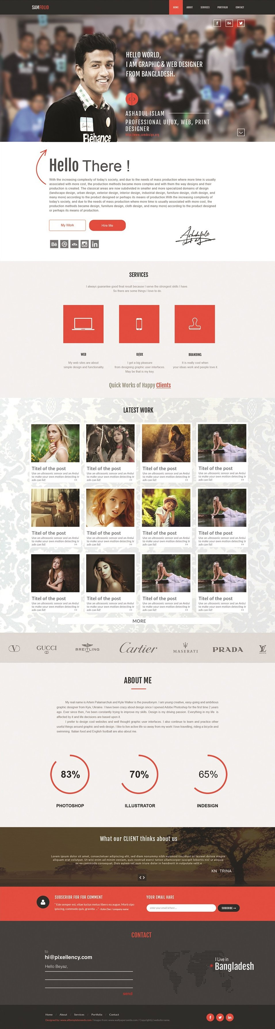 Samfolio Personal Free One Page Web PSD