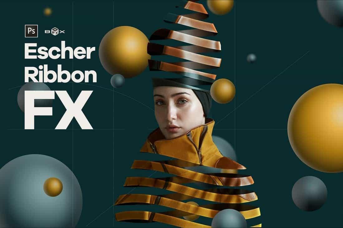 Escher Ribbon FX Photoshop Add-On