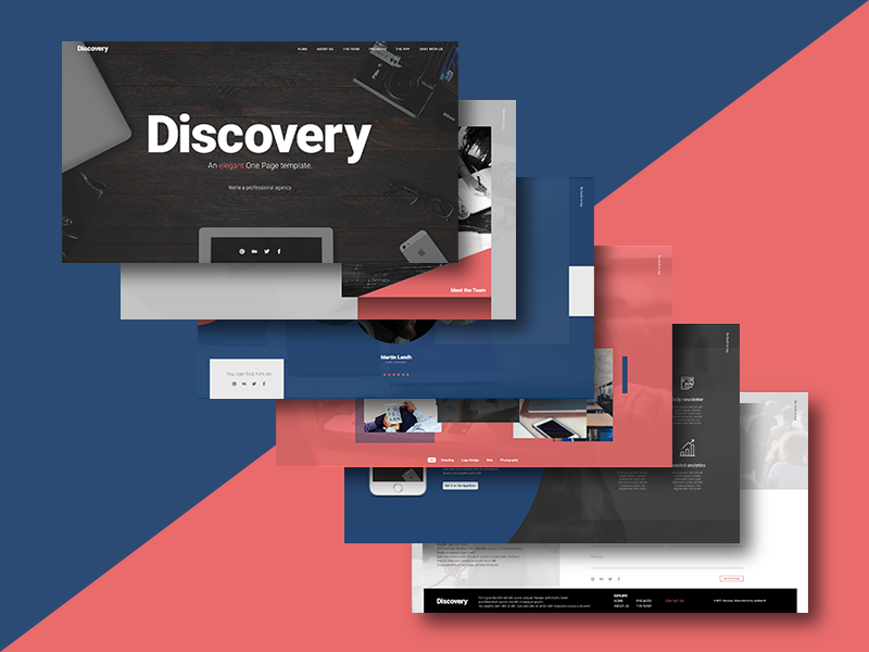 Discovery – One Page Free Photoshop PSD Website Templates