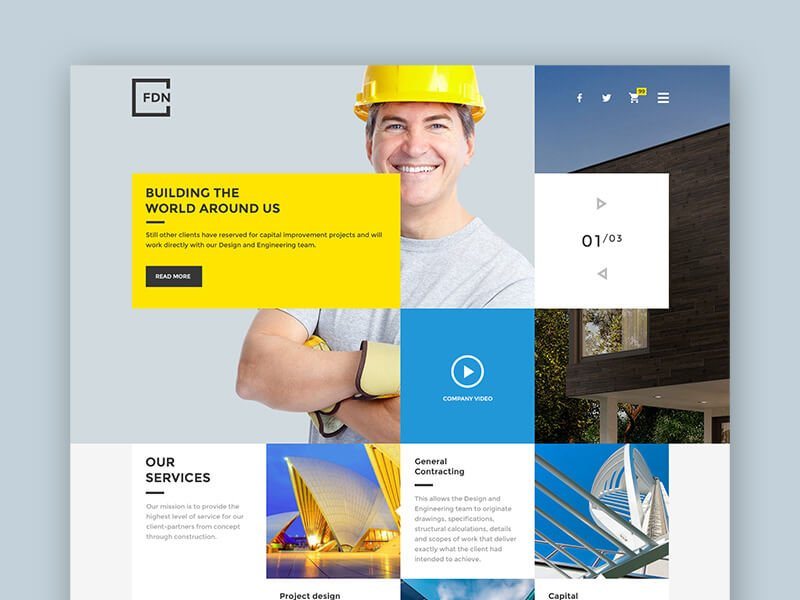 Foundation – Free PSD Temlate for Construction Websites