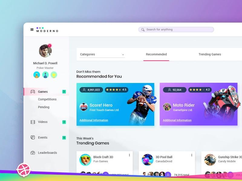 Gaming Dashboard Free PSD Layout